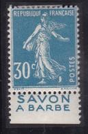 PUBLICITE: SEMEUSE 30C BLEU SAVON A BARBE ACCP 123 BAS NEUFS* - Advertising