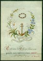 SANTINO - CV935 IMMAGINI RELIGIOSE SANTINI DIPINTI A MANO Pergamena Con Testo E Splendida Decorazione, Ottime Condizioni - Devotion Images