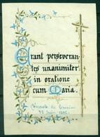 SANTINO - CV936 IMMAGINI RELIGIOSE SANTINI DIPINTI A MANO 1886 Pergamena Con Testo E Splendida Decorazione, - Devotion Images