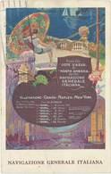 Cpa Pub Navigazione Generale Italiana – Villefranche, Genoa, Naples ..   (PUB) - Advertising