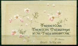 SANTINO - CV937 IMMAGINI RELIGIOSE SANTINI DIPINTI A MANO 1896 Pergamena Con Testo E Splendida Decorazione, - Devotion Images