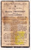 DP Rosalie Provoost ° Eernegem Ichtegem 1852 † Aartrijke Zedelgem 1928 X Karel Lammens - Devotion Images