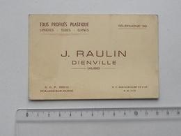 DIENVILLE (10): Publicité Ancienne Carte De Visite TOUS PROFILES PLASTIQUE Lanières Tubes Gaines - RAULIN - Publicités