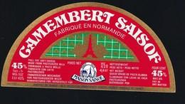 """Etiquette Fromage Demi 1/2 Camembert Saisof  Normandie """"Maison Saisof Paris1920"""" 45%mg Export - Cheese"""