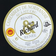 Etiquette Fromage Camembert  Normandie Renée La Mère Richard  Fromagerie Du Val D'Ay Lessay 50 - Cheese
