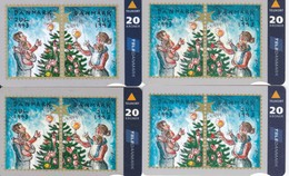 Denmark, KS 021a,JS 018, FS 009 And TS 010, Christmas 1993, Set Of 4 Cardsm 2 Scans.  Please Read - Denmark