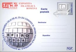 75214- UPU CONGRESS, COMPUTERS, POSTCARD STATIONERY, 2004, ROMANIA - Computers