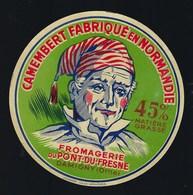 "Etiquette Fromage Camembert  Normandie Fromagerie Du Pont Du Freine Damigny Orne 61 ""visage Homme Bonnet"" - Fromage"