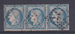 FRANCE/CERE  N° 60 BANDE DE TROIS   OBLITERE - 1871-1875 Ceres