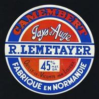 Etiquette Fromage Camembert  Normandie Pays D'auge R Lemetayer Ouilly Le Vicomte Par Lisieux 14 - Fromage