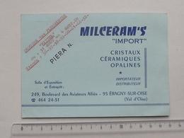 ERAGNY-SUR-OISE 95: Publicité 1969 Carte De Visite MILCERAM'S Céramique Opaline PIERA - VITTEL Congrès Des Fleuristes - Publicités