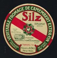 Ancienne étiquette Fromage Camembert Normandie Silz New York Ste Laitiere Des Fermiers Normands Caen 14 - Cheese