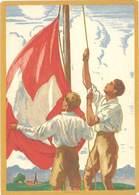 Cpa Pub  Fête Nationale 1929, Pour Le Don National Suisse , Signée Courvoisier    (PUB) - Advertising