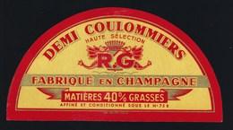 """Ancienne étiquette Fromage Demi 1/2 Coulommiers """" RG"""" Goussin René  Fabriqué En Champagne 40%mg - Cheese"""