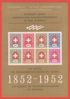 TÉLÉGRAPHIE - UN SIÈCLE TÉLÉCOMMUNICATION EN SUISSE 1852-1952: Feuillet Officielle En Tirage De 10'000 (SBK CHF 160.00) - Blocs & Feuillets