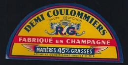 """Ancienne étiquette Fromage Demi 1/2 Coulommiers """" RG"""" Goussin René  Fabriqué En Champagne 45%mg - Cheese"""