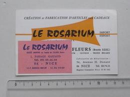 NICE: Publicité Ancienne Carte De Visite LE ROSARIUM Création Et Fabrication D'articles Pour Cadeaux - Fleurs - GASTAUD - Publicités