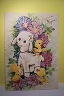 JOYEUSES   PAQUES   - - MOUTON  - CANETON  - ( Paillettes ) - Easter
