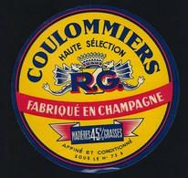 """Ancienne étiquette Fromage Coulommiers """" RG"""" Goussin René  Fabriqué En Champagne 45%mg - Fromage"""