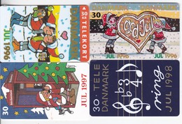 Denmark, S 011, S 012, S 033 And S 040, Christmas 96, 96, 97 And 98, Set Of 4 Cards, 2 Scans.  Please Read - Denmark