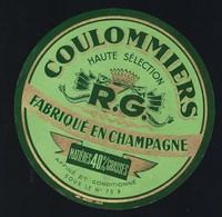 """Ancienne étiquette Fromage Coulommiers """" RG"""" Goussin René  Fabriqué En Champagne 40%mg - Fromage"""