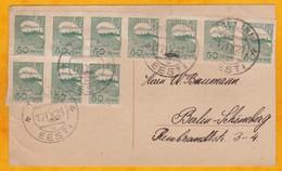 1921 - Carte Postale De Tallinn, Estonie Vers Berlin, Allemagne - Affranchissement Bloc 10 Timbres X 50 P Non Dentelés - Estonie