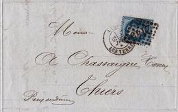 Lettre Lyon 1869 Rhone Marius Cote Banque Banquier Bank Thiers Puy De Dôme Soie Soierie - 1863-1870 Napoleon III With Laurels