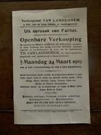 Oud E Aankondeging   Verkoopzaal  VAN  LANDEGHEM    GENT    1919 - Belgique