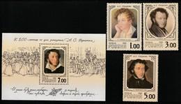 RUSSIE - N°6405/7 + Bloc N°244 **  (1999) Alexandre S.Pouchkine - 1992-.... Fédération