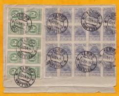 1923 - Estonie 1 X Bloc De 10 Timbres De 10 P Non Dentelés Et 1 Bloc De 20 Timbres De 70 P Sur Devant De Lettre - Estonie