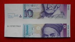 Fehlschnitt 10 Deutsche Mark Von 1993, Mit 2 Verschiedene Kenn-Nummern Aus Bogen/Makulatur !! - 1949-…: BRD