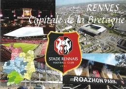 Stade De Football - Stade Du Roazon Park Rennes Capitale De La Bretagne - Carte Géo De L'Ile Et Vilaine - Cpm - Vierge - - Soccer