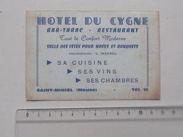 SAINT-MIHIEL (55): Publicité Ancienne Carte De Visite HOTEL DU CYGNE Bar-Tabac Restaurant - Propriétaire WEHREL - Noce - Publicités