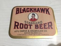 Ancienne Étiquette 1.1 BIÈRE BLACKHAWK ROOT BEER CARSE OHLWEILER CO ROCK ISLAND - Bière