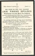 SPILOES Jan Frans ° 1850 Bonheiden + Mechelen 1918 Doodprentje Echt Anna Maria Van Oosthoven - Religion & Esotérisme
