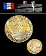 1 Pièce Plaquée OR ( GOLD Plated Coin ) - Apollo 11 Armstrong Aldrin Collins - Monnaies