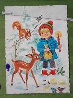 KOV 8-78 - New Year, Bonne Annee, Nature, CHILDREN, Enfants, Roe Deer, Squirrel, écureuil - Nouvel An