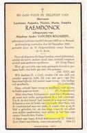 DP Lucienne Aug. Raemdonck ° Lokeren 1899 † Brussel 1941 X A. Van Den Bogaerde - Devotion Images