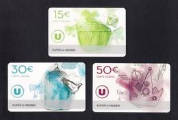 3  Carte Cadeau Super U   VINZIER  (74).   Gift Card. Geschenkkarte - Cartes Cadeaux