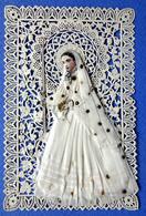 IMAGE PIEUSE  CANIVET ...COMMUNIANTE EN PAPIER DE SOIE...CIERGE ...CHAPELET....MISSEL - Images Religieuses
