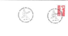 FRANCE TENNIS TENIS COMPETITION ROLAND GARROS PARIS TOURNOI DU CENTENAIRE TURNIER 1991 RAQUETTE CASQUETTE COIFFE - Tennis