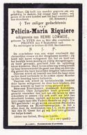 DP Felicia M. Riquiere ° Ieper 1865 † Proven Poperinge 1916 X Henri Lowagie - Devotion Images