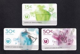 3  Carte Cadeau Super U   ST JEAN DE MONTS  (85).  Gift Card. Geschenkkarte - Cartes Cadeaux