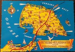 Ak Deutschland - Landkarte , Map - Ostseebad Heiligenhafen Und Ferieninsel Fehmarn - Maps