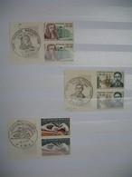 France 1966   Lot De 3  Bloc De 2 Timbre Avec Bord De Feuille Cachet Premier Jour  Neuf **   à  Voir - Used Stamps