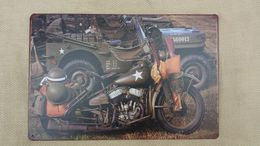 Plaque Décorative US JEEP-MOTO US WW2 ( Largeur: 30 Cm - Hauteur : 20 Cm ) - 1939-45