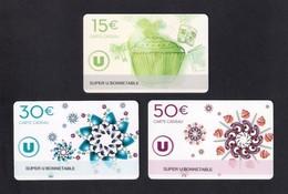 3  Carte Cadeau Super U   BONNETABLE  (72).   Gift Card. Geschenkkarte - Cartes Cadeaux