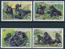 Mi 1292-95 MNH ** / WWF World Wildlife Fund / Mountain Gorilla Gorilla Gorilla Beringei Monkey Ape - Rwanda