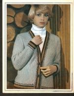 "K. USSR Soviet Russia 1979 - Women Fashion Jacket Knitting Pattern With Needles On The Backside Size 6"" X 7"" - Fashion"