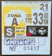 BOSNIA AND HERZEGOVINA 1 Month Coupon For University Student Fof Public Transport - Season Ticket